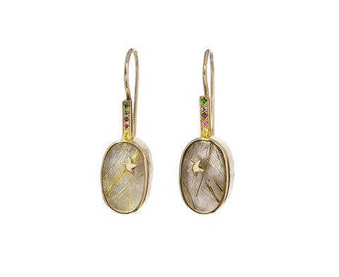White Mother-of-Pearl Rutilated Quartz Star Element Earrings - TWISTonline