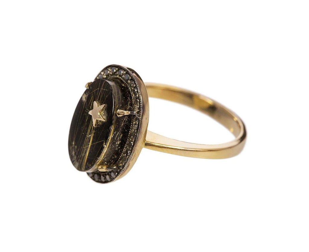 Rutilated Quartz Black Onyx Star Element Ring - TWISTonline