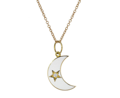 White Enamel Crescent Moon Necklace - TWISTonline