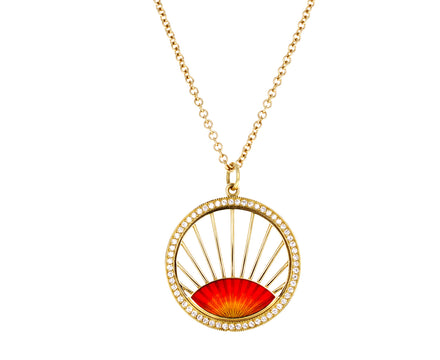 Diamond Enamel Sunset Pendant Necklace