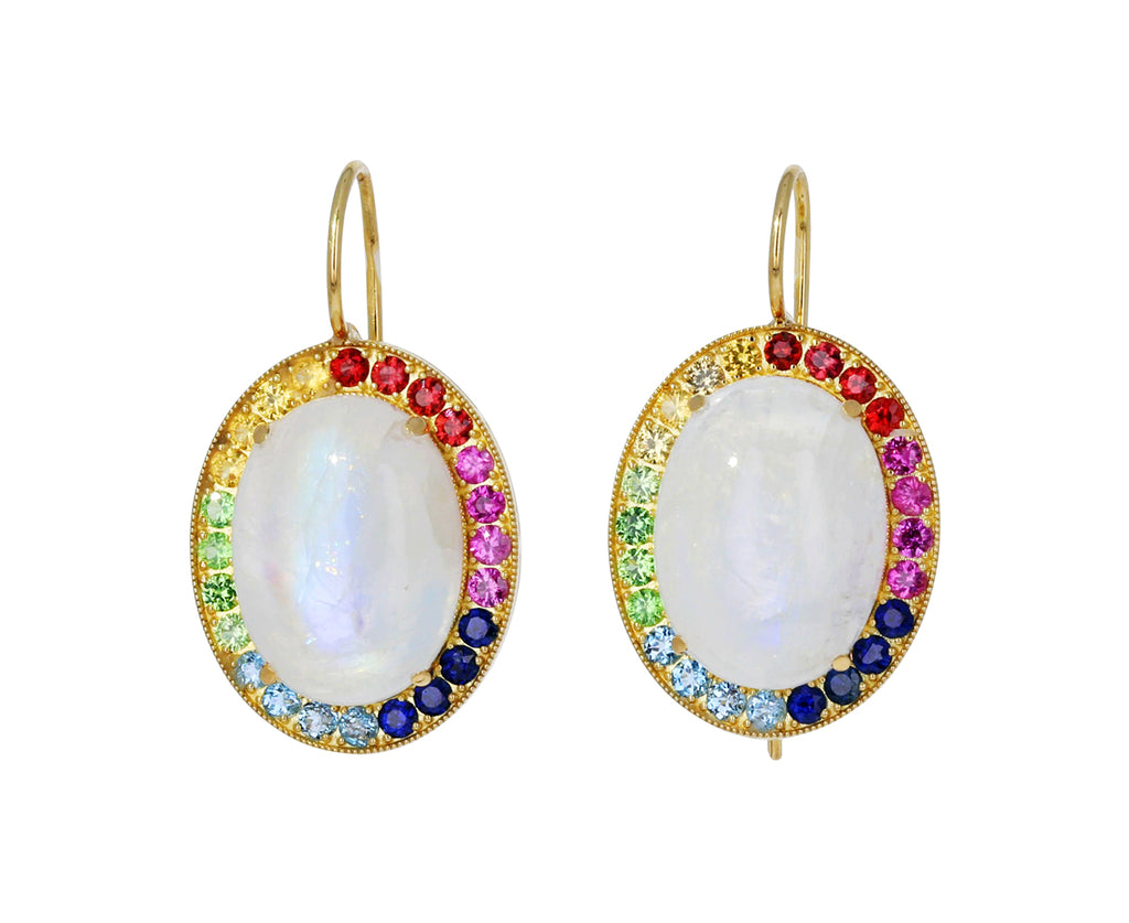 Rainbow Sapphire and Moonstone Earrings