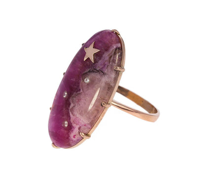 Pink Cobalto Calcite Shooting Star Ring with Diamonds - TWISTonline