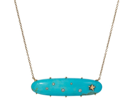 Oblong Turquoise Diamond Star Necklace - TWISTonline