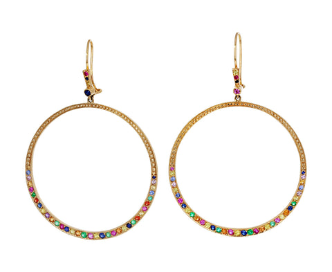 Large Multi Gem Hoop Earrings