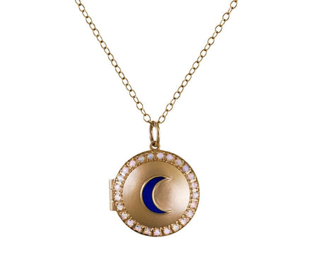 Small Locket with Crescent Moon and Opals - TWISTonline