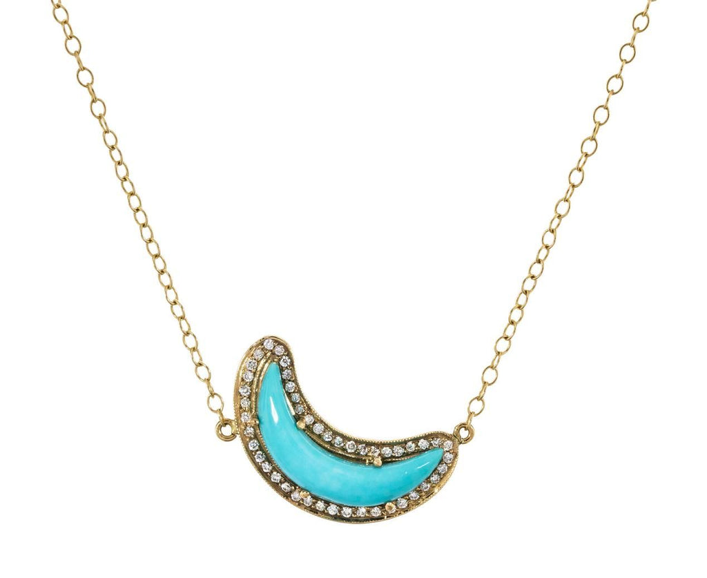 Sleeping Beauty Turquoise and Diamond Crescent Moon Necklace - TWISTonline