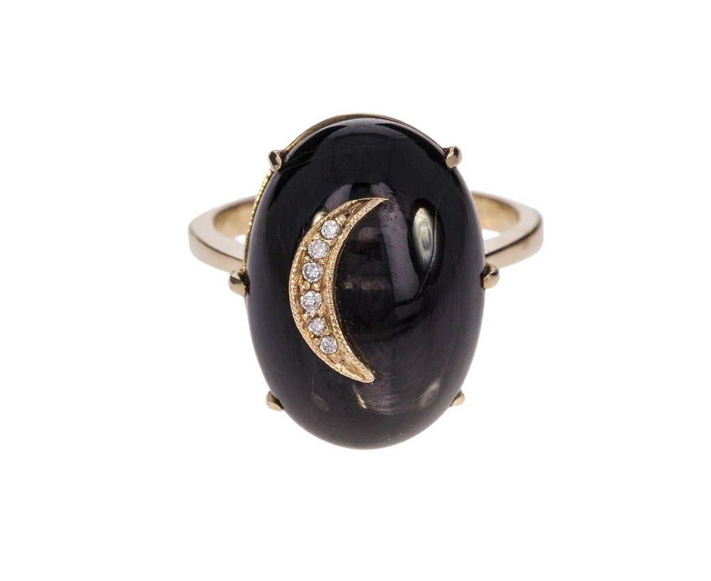 Black Hypersteen Moonstone Crescent Moon Ring - TWISTonline