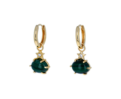 Malachite Mini Cosmo Hoop Earrings - TWISTonline