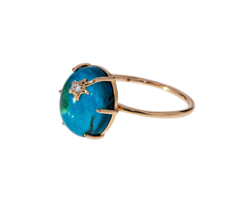 Chrysocolla and Quartz Mini Galaxy Ring - TWISTonline