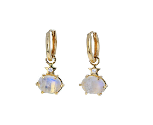 Mini Rainbow Moonstone Cosmo Hoop Earrings - TWISTonline