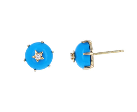 Diamond and Turquoise Mini Cosmo Stud Earrings
