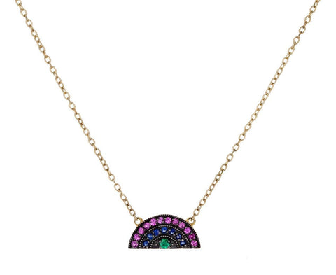 Mini Mixed Gem Small Rainbow Pendant Necklace - TWISTonline