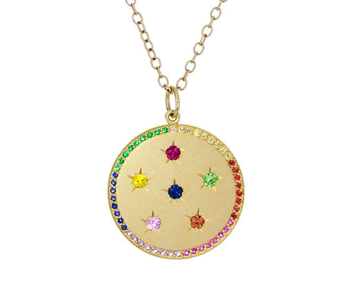 Rainbow Sapphire Full Moon Pendant Necklace - TWISTonline