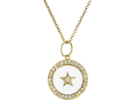 White Enamel Diamond Full Moon Pendant Necklace - TWISTonline
