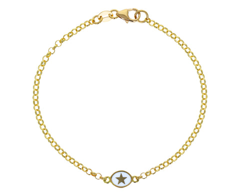 White Enamel Star Round Sequence Chain  Bracelet