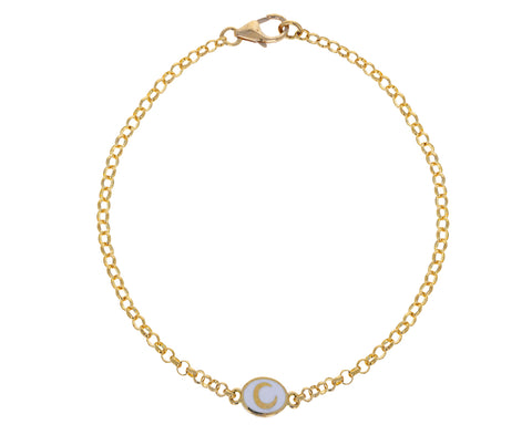 White Enamel Crescent Round Sequence Chain Bracelet