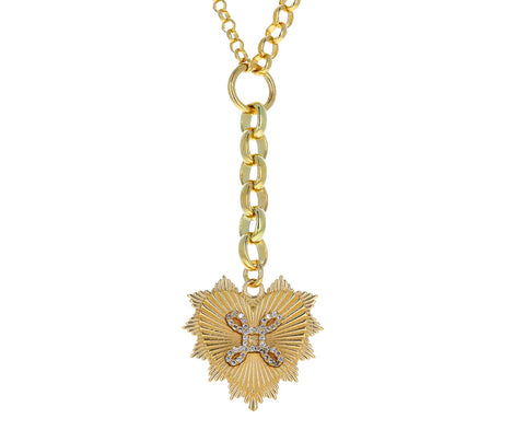 Medium and Small Mixed Belcher Chain True Love Knot Medallion Necklace