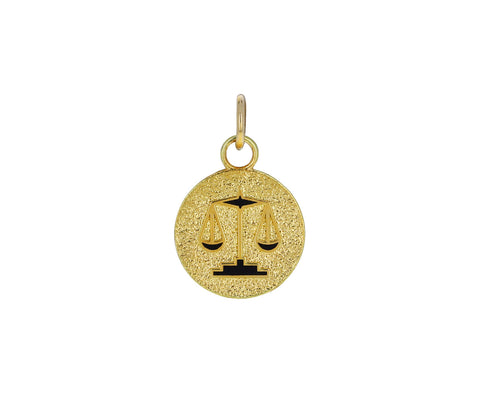 Libra Zodiac Petite Pebbled Medallion ONLY