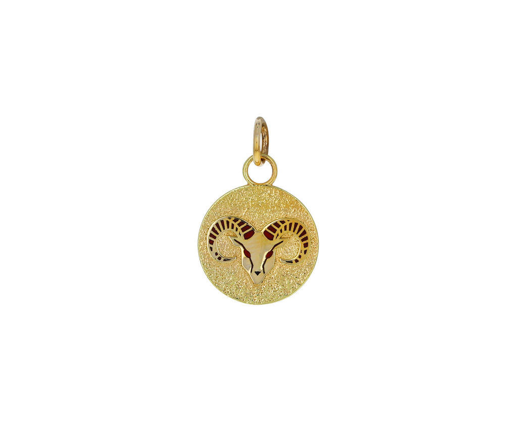 Aries Zodiac Petite Pebbled Medallion ONLY