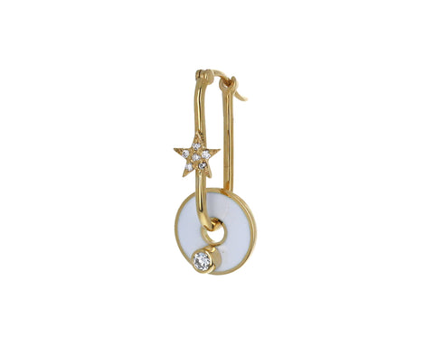 Single White Enamel Diamond Symbol Disk Charm ONLY