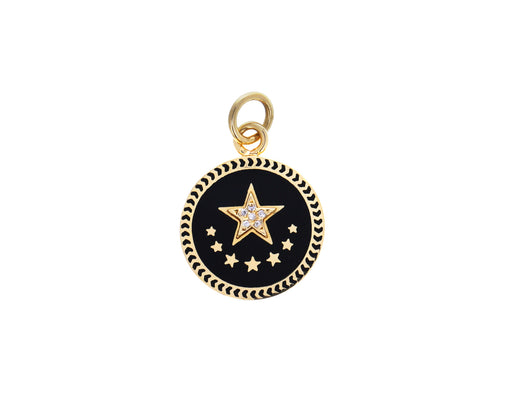 Baby Black Enamel Star Medallion Pendant ONLY