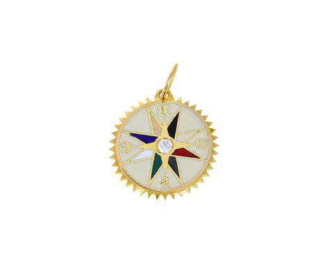 Petite Cream Enamel Course Correction Medallion Pendant ONLY