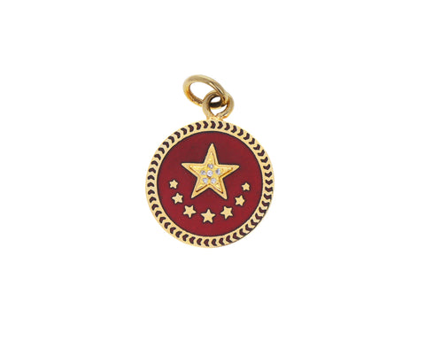 Baby Red Enamel Star Medallion Pendant ONLY