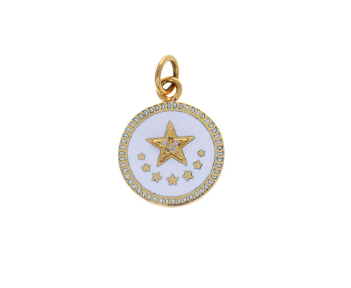 Baby White Enamel Star Medallion Pendant ONLY