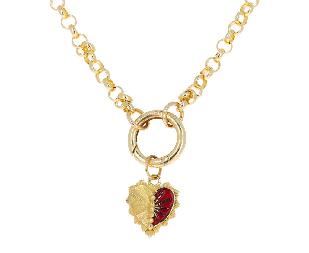 Red Enamel Mini Heart Love Token Pendant ONLY