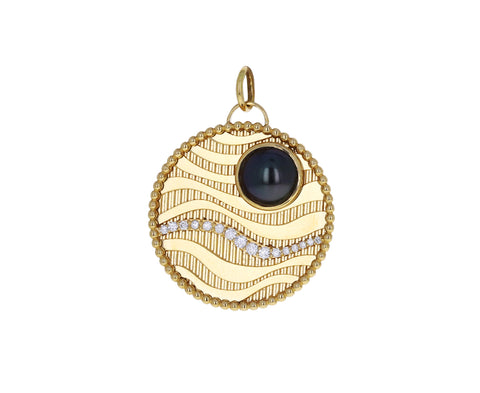 Large Sana Black Pearl Medallion Charm ONLY