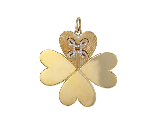 Diamond True Love Knot on Medium Four Leaf Clover Charm Pendant ONLY