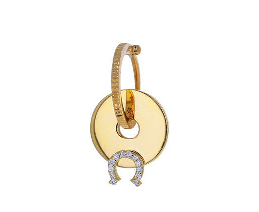 Single Diamond Horseshoe Symbol Disk Charm ONLY