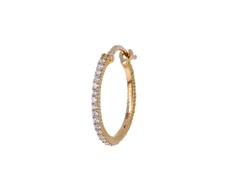 Small Diamond SINGLE Hoop Earring