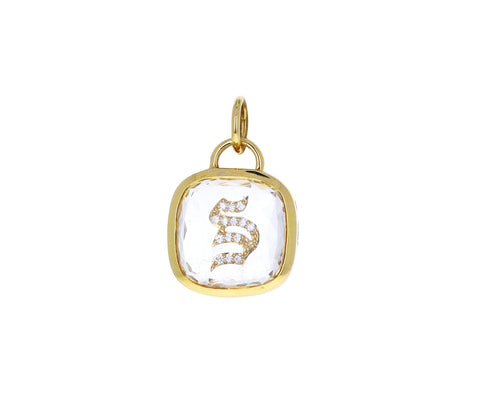 Sealed Gemstone Diamond 'S' Initial Charm Pendant ONLY