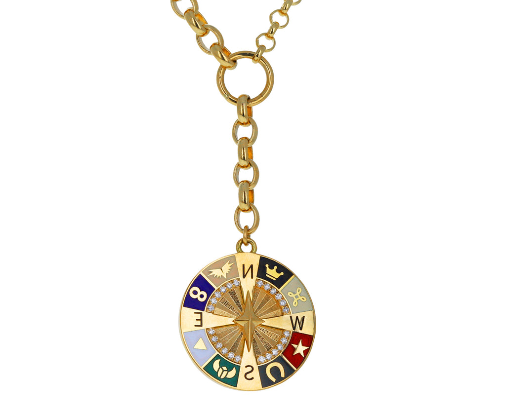 Mixed Large Belcher Chain Large Compass Medallion Necklace