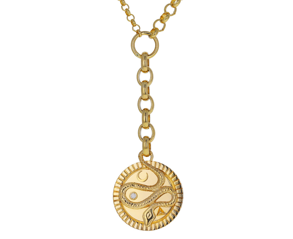 Medium and Small Mixed Belcher Chain Medium Wholeness Medallion Necklace