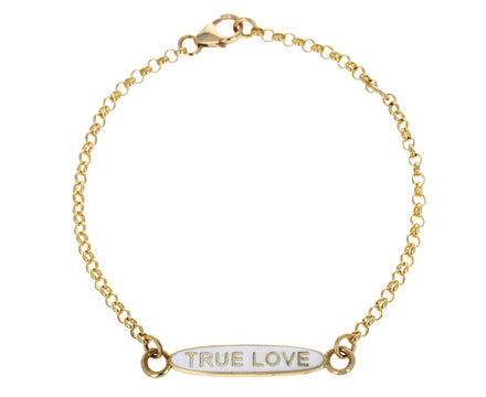 Cream Enamel True Love Oval Sequence Bracelet