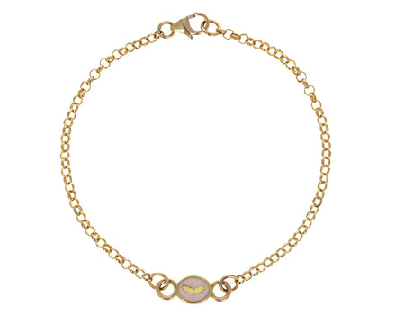 Blush Enamel Wings Round Sequence Chain Bracelet