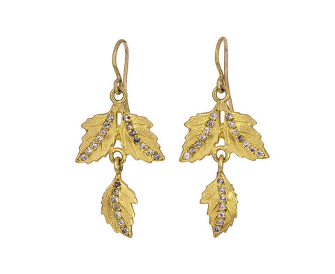 Diamond Stripe Double Leaf Earrings - TWISTonline