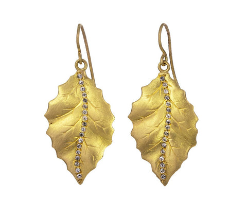 Diamond Holly Leaf Earrings - TWISTonline