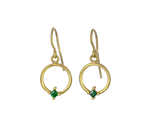 Small Hoop Earrings with Emeralds - TWISTonline