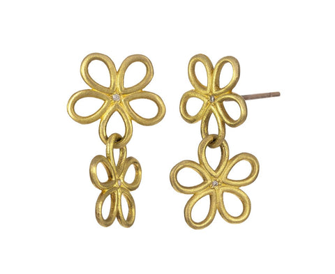 Double Daisy Drop Earrings - TWISTonline