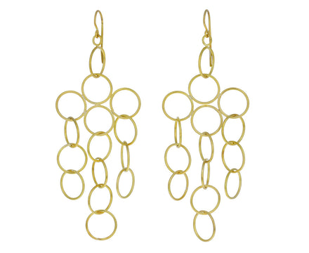 Gold Open Loop Cluster Earrings