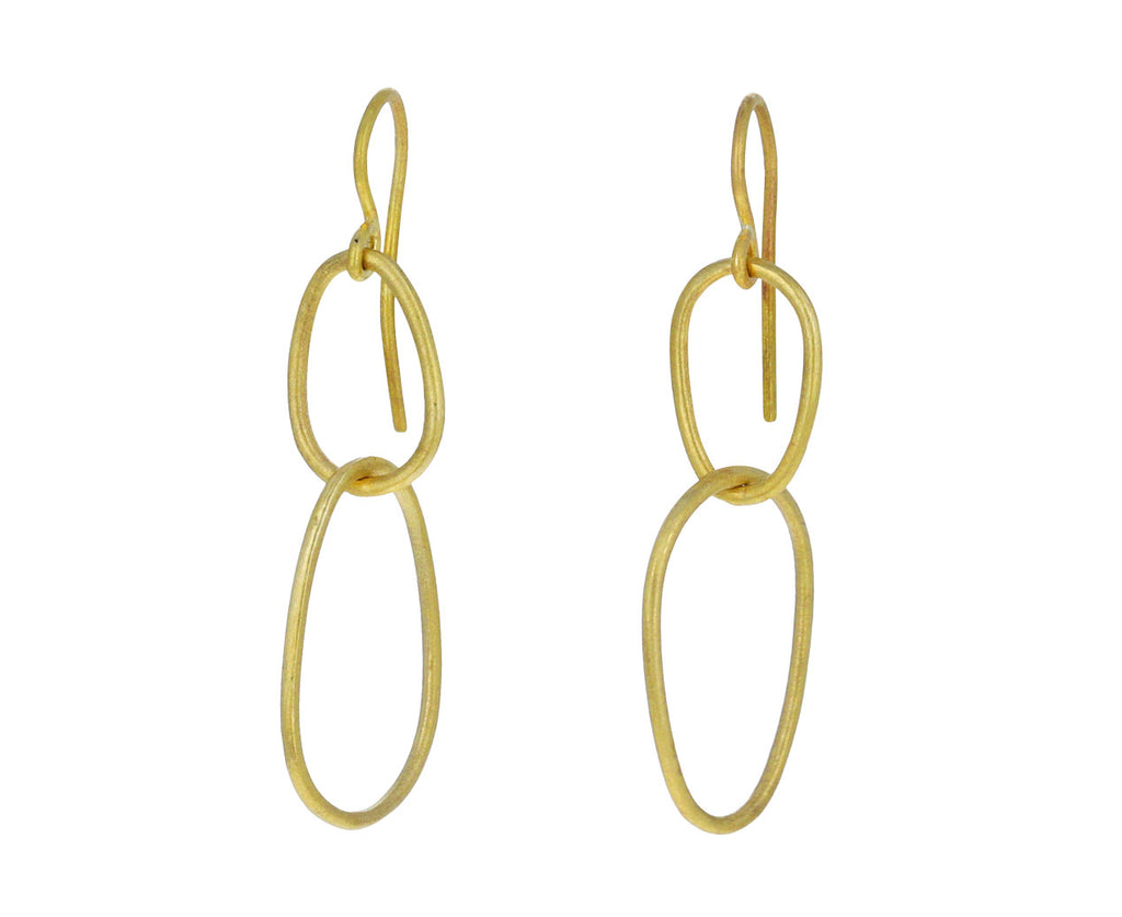 Gold Egg Link Earrings