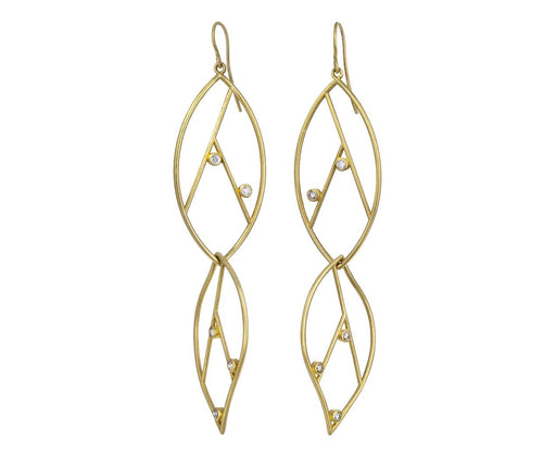 Geometric Double Leaf Diamond Earrings - TWISTonline