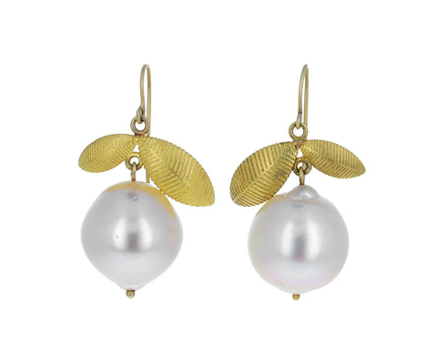 Pearl Lotus Leaf Earrings