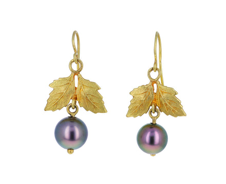 Oak Leaf and South Sea Pearl Eleanora Earrings