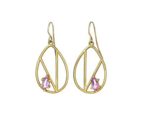 Pink Tourmaline Geometric Earrings - TWISTonline