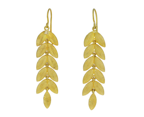 Gold Twin Lotus Leaf Earrings