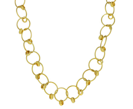 Gold Loop and Bead Chain Necklace